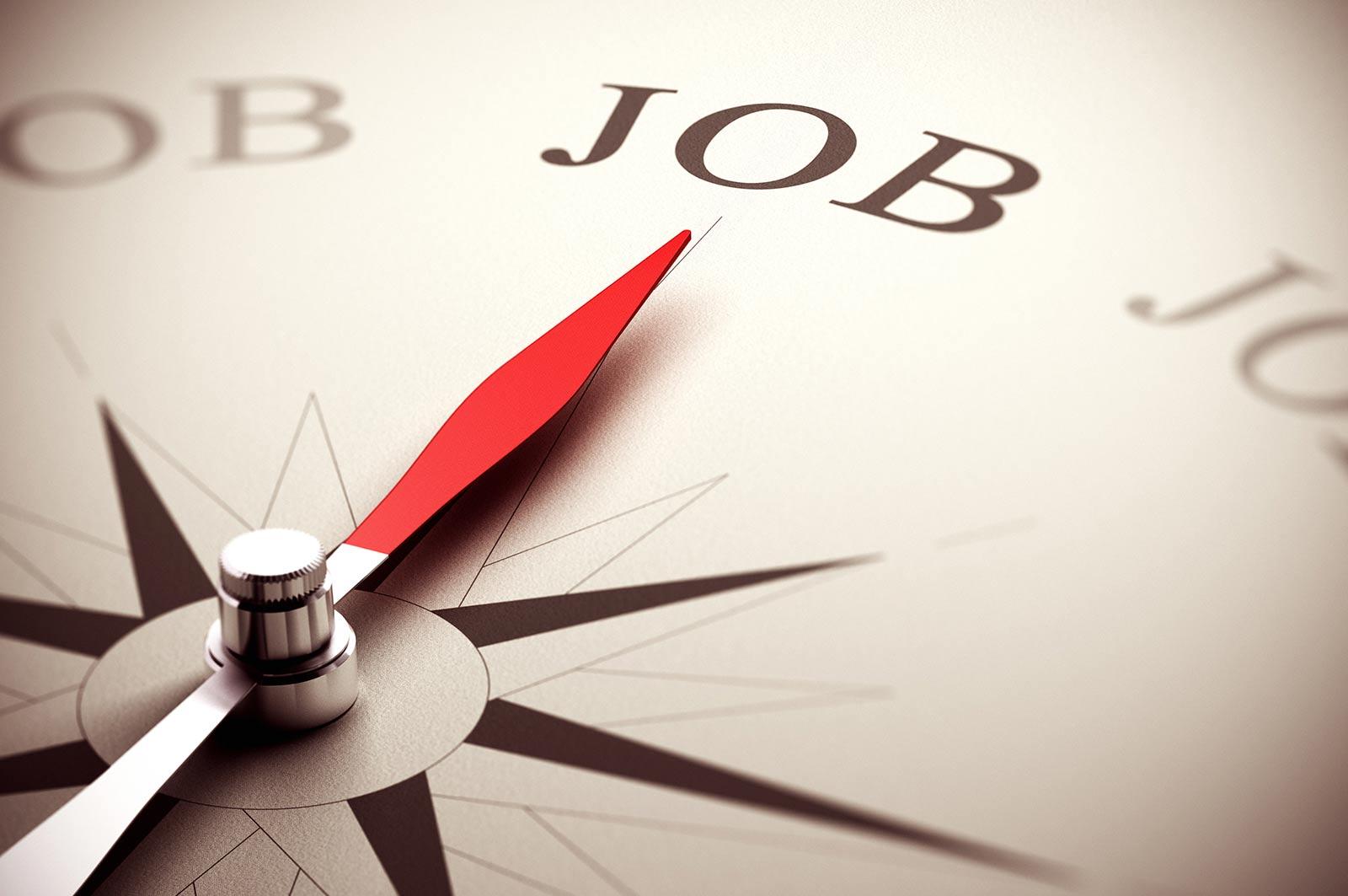 Kompas met wijzend naar JOB, Jobcoaching richtinggevend in traject.